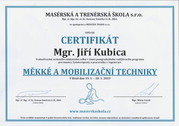 Měkké a mobilizační techniky certifikát Jiří KUBICA